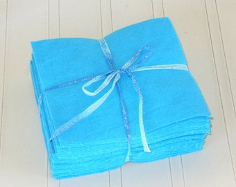 Solid TURQUOISE BLUE, FLANNEL Fabric Squares,  Rag Quilt, Traditional Quilting, pick size & quantity, We Cut You Sew