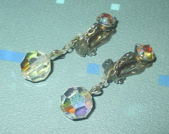 Vintage FAB Aurora Borealis Clear Crystal Faceted Dangle Clip Earrings