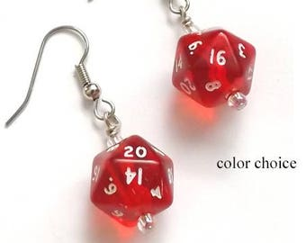 Mini D20 Dice Earrings COLOR CHOICE Gamer gifts Geekery polyhedral rpg stocking stuffers party favors dnd nerd dork game pieces jewelry