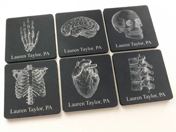 Custom Name Medical Graduation Coaster Set anatomy gift school teacher doctor nurse practitioner physician assistant stocking stuffer goth