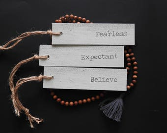 Seaglass color - Word of the Year wooden sign - set of three - Fearless, Believe, Expectant
