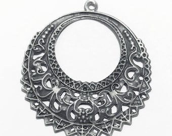 10 pcs of antiqued silver-plated Steel filigree round 41x38mm, matte silver filigree round drop, antique silver drop