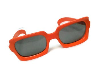 Vintage 60s Mod Orange Sunglasses Polaroid Cool Ray