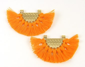 Orange Tassel Earrings Findings Boho Saffron Fringe Gold Half Circle Fan Pendant Boho Jewelry Supply Chandelier Components Trendy |O2-14|2