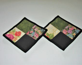 Hot Pads Black Pink Olive Green (Set of 2)