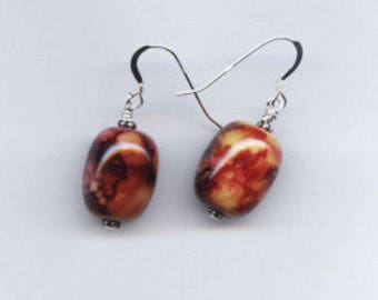 Burgundy, brown, red and Gold Barrell Sterling Silver Earrings