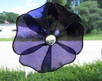 Pretty Purple Stained Glass Flower Suncatcher