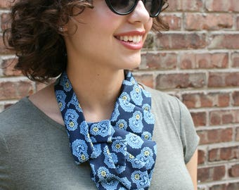 Memorial Gift - Ascot Tie - Work Wear - Hipster Clothing - Gift For Her - Necktie Scarf - Neckerchief - Navy Floral Scarf. 66