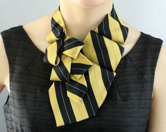 Ascot Tie - Office Wear - Gift For Her - Upcycled Neckties - Gift For Wife - Memorial Gift - Gold and Black Striped Lauren Scarf. 7