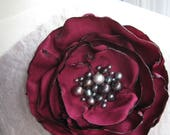 RESERVED fabric flower brooch -   luxe single bloom  corsage pin in deep red with freshwater pearl centers
