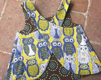 Crossback Top --- Owl always love you - Reversible Pinafore