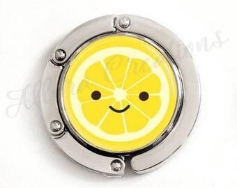 Cute Lemon Slice Purse Hook, foldable purse hook, tabletop purse hanger
