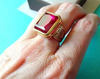Gold Vermeil and Ruby Cocktail Ring Size 6.5