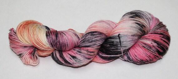 Ready to Ship - Zombie Romance Hand Dyed Sock Yarn - Soft Sock