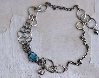 London Blue Topaz Bracelet - Topaz Bezel Bracelet - Rock Crystal Bracelet - Dainty Oxidized Sterling Silver Bracelet - Silver Link Bracelet