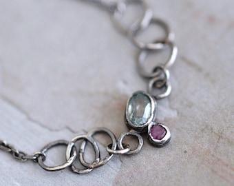 Blue Zircon Bracelet - Ruby Bezel Bracelet - Dainty Oxidized Sterling Silver Chain Bracelet - Labradorite Bracelet