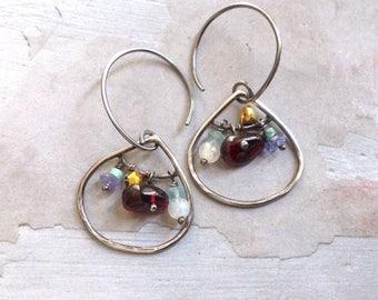 Almandine Garnet Earrings - Tanzanite Earrings -Oxidized Sterling Silver Earrings -Winter Earrings -Teardrop Earrings -Dangle Stone Earrings