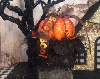 Halloween decor pumpkin decor orange and black fall decor glass jar halloween candy holder Boo party decor hostess gift