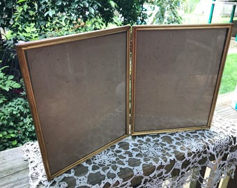 Vintage Folding 8 X 10 Double Metal Hinged Picture Photo Frame