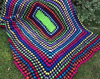 Vintage Hand Crochet Colorful Trip Around the World Afghan Set in Black