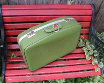 Vintage Green Small Suitcase/Overnight Case Luggage Great for Repurposing