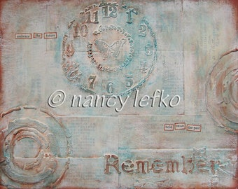 remember - 8 x 10 ORIGINAL MIXED MEDIA by Nancy Lefko