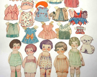 Vintage or Antique Dolly Dingle Paper Dolls with 5 Dolls Dog and 17 Outfits and Accessories
