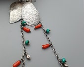 Long Turquoise and Coral Paisley Earrings, Sterling Silver Almost Shoulder Dusters