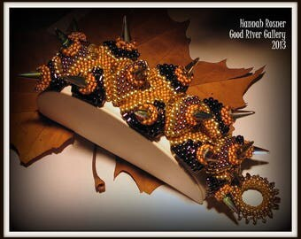 Dani's Dragons - Scale Pattern Bracelet with spikes - gold, orange and purple - designed by Hannah Rosner