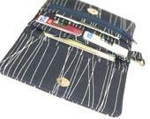 dark navy woman wallet. womens fabric coin purse card organizer. cute ladies credit card holder. tween small vegan slim gift