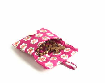 case for rosary. cute pouch. pink rose small fabric padded ear bud case  earbud pouch