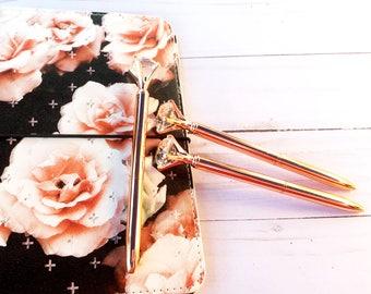 Diamond Top Rose Gold Ballpoint Pen