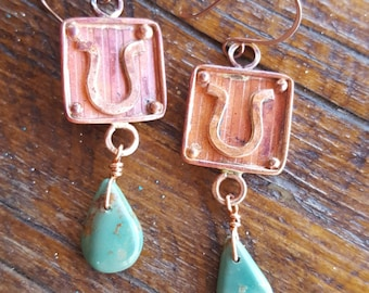 COPPER Horseshoe Earrings - Green Turquoise - Teardrops -Horse Lover Jewelry - Horse Rescue Jewelry - Rustic Jewelry by Heart of a Cowgirl