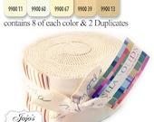 Bella Solids Jelly Roll Neutral by Moda Fabrics SKU 9900JR 21
