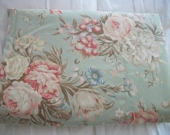 vintage ralph lauren 'charlotte' fabric, softly faded and timeworn, damaged king flat sheet; 100% cotton, designer fabric,