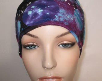 Women's Planet Print  Cotton Stretch Knit Chemo Cap, Cancer Hat, Alopecia Beanie