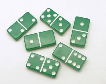 Vintage Dominoes Green Game Tiles