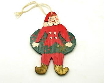 Vintage Christmas Ornament Wood Elf Christmas Decoration