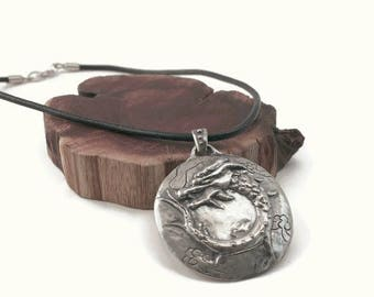 Dragon necklace handmade pendant Chinese protection symbol statement jewelry silver leather
