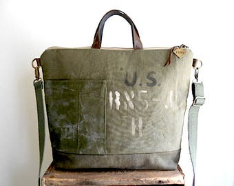 MADE TO ORDER: Recycled military canvas tote, crossbody bag - eco vintage fabrics