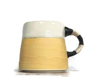 Yellow Mug, Black & White Stripy Handle with Yellow and Black Bottom
