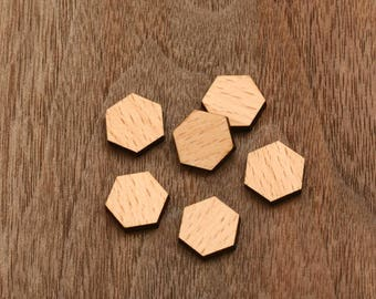 8pcs laser cut wooden cabochons wood cut slice disc charm  hexagon (WS 119)