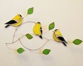 NEW for 2018!! American goldfinch trio group stained glass suncatcher , birds on a 3 dimentional wire branch adorned wi