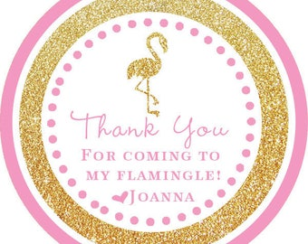 DIY Printable File- Pink Gold Glitter Flamingo Party Thank You Stickers, Tags, Labels- Avery Label 22807