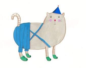 Cat   Original Illustration with frame