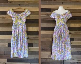 Vintage Floral Dress |  Romantic Dress | Alternative Wedding Dress | 1990s Dress | Bridesmaid Dress | Sweetheart Dress