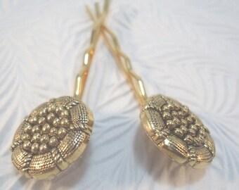 CLEARANCE - 2 mini gold-tone hairpins,  floral hairpins, hair accessory, womens accessory