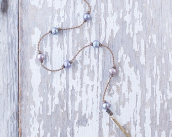 """peacock pearl """"Y"""" / handspun knotted rope necklace / waterproof / life-proof / island jewelry / minimalist beauty / tula blue"""