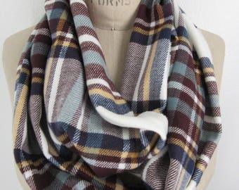 plaid Infinity Scarf preppy neck wrap aubergine check loop cozy flannel cowl warm winter muffler boho chic bespoke accessory soft tube scarf