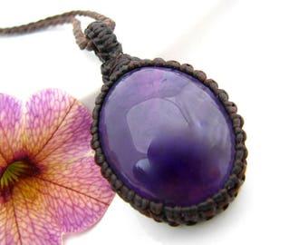 Amethyst pendant, Amethyst Necklace, Amethyst, February Birthstone, Bridesmaid gift, Healing stone, crystal healing